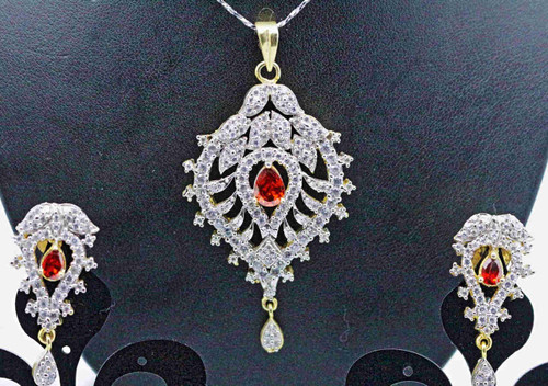 Exclusive Pendant Set | Set in striking Red Stone adorned by striking AD Stones | Buy online now | Free Shipping Australia wide