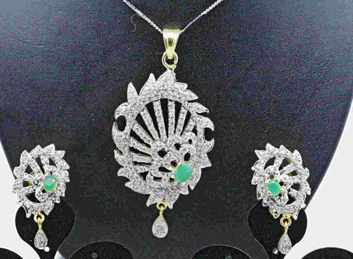 Exclusive Pendant Set | Set in striking Green Stone adorned by striking AD Stones | Buy online now | Free Shipping Australia wide