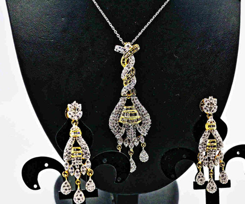 Exclusive Pendant Set | Set in striking clear American Stones with a Touch of Green | Sparkling AD Pendant  | Buy online now | Free Shipping Australia wide