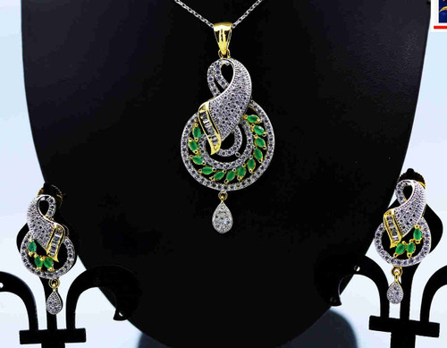 Exclusive Pendant Set | Set in with stylish Green Stone &  clear American Stones | Sparkling AD Pendant  | Buy online now | Free Shipping Australia wide
