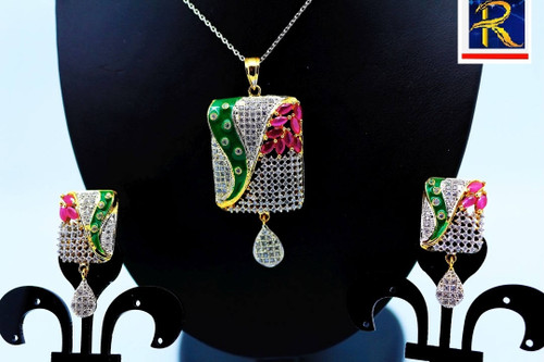 Exclusive Pendant Set | Set in Red & Green motif in AD Stone Clear AD Stone | Sparkling AD Pendant  | Buy online now | Free Shipping Australia wide