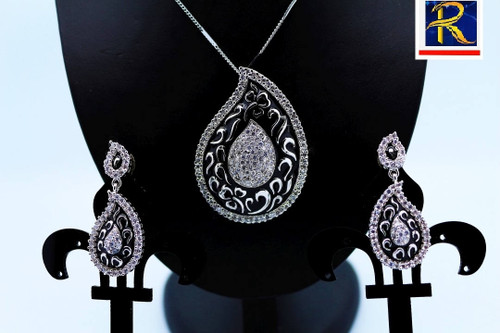 Exclusive Pendant Set | Silver & Black in  AD Stone setting | Sparkling AD Pendant  | Buy online now | Free Shipping Australia wide