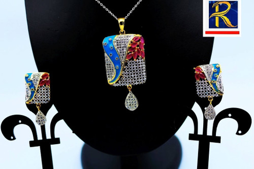 Exclusive Pendant Set |in Red & Blue motif in AD Stone setting | Sparkling AD Pendant  | Buy online now | Free Shipping Australia wide