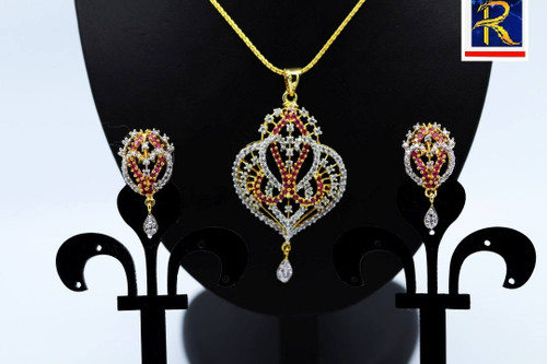 Exclusive Pendant Set |Stunning  Red stone motif  in AD Stone setting | Sparkling AD Pendant  | Buy online now | Free Shipping Australia wide