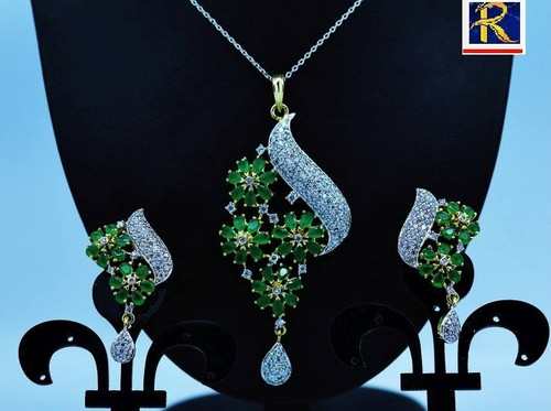 Exclusive Pendant Set |Leafy Green stone motif  in AD Stone setting | Sparkling AD Pendant  | Buy online now | Free Shipping Australia wide