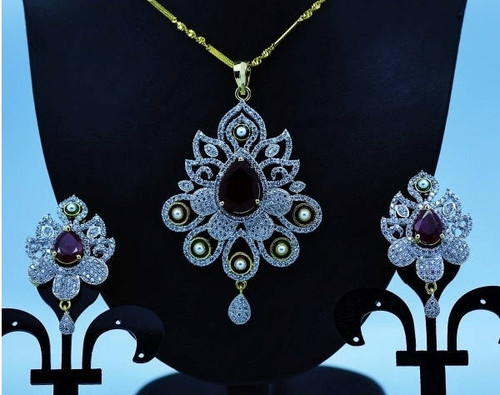 Exclusive Pendant Set | Bold Red stone motif  in AD Stone setting | Sparkling AD Pendant  | Buy online now | Free Shipping Australia wide