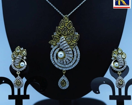 Exclusive Pendant Set | Gold plated & Pearl motif  in AD Stone setting | Sparkling AD Pendant  | Buy online now | Free Shipping Australia wide