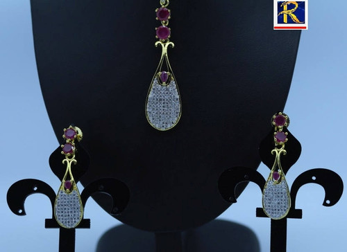 Exclusive Pendant Set | Light Red motif  in AD Stone setting | Sparkling AD Pendant  | Buy online now | Free Shipping Australia wide