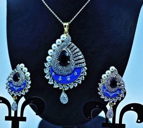 Exclusive Pendant Set |Red & Blue stoned in AD Stone setting | Sparkling AD Pendant  | Buy online now | Free Shipping Australia wide