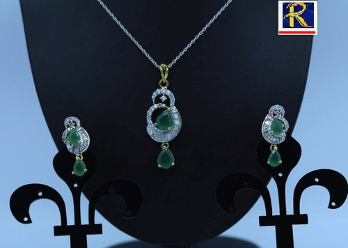 Exclusive Pendant Set | Green motif in AD Stone setting | Sparkling AD Pendant  | Buy online now | Free Shipping Australia wide