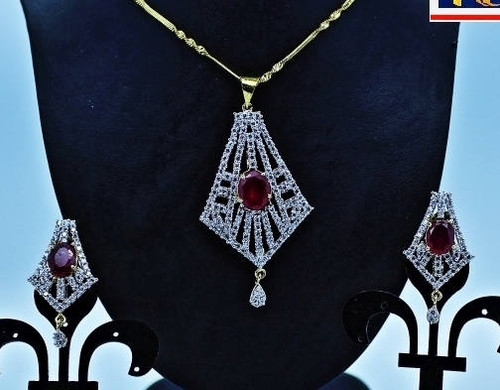 Exclusive Pendant Set | Red Stones in AD Stone setting | Sparkling AD Pendant  | Buy online now | Free Shipping Australia wide