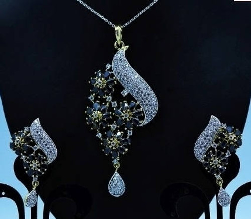 Exclusive Pendant Set | Black Stones in AD Stone setting | Sparkling AD Pendant  | Buy online now | Free Shipping Australia wide