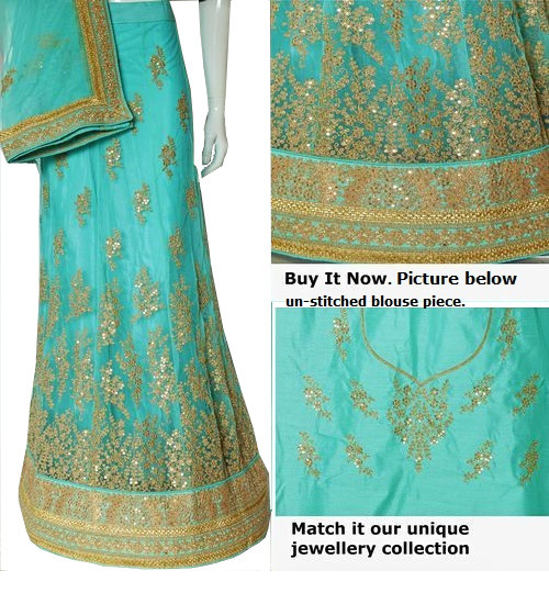 Buy Now | Aqua Net Lehenga Choli Set | Aqua Dupatta & Blouse Piece | Un-stitched blouse | Buy Now | Free Delivery | Stitching Available.