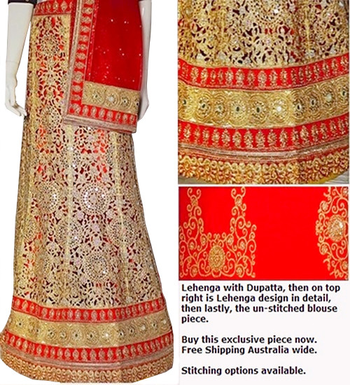 Cut work Red & Gold Lehenga Choli Set | Red Dupatta & Blouse Piece | Semi Stitched  | Blouse is not stitched