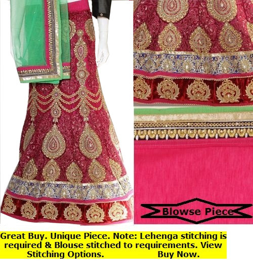 Bright Red Lehenga Choli Set | Green Dupatta & Red Blouse Piece | Semi Stitched| Buy Now