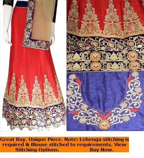 Blood Red & Blue Lehenga Choli Set | Grey Dupatta with Blue Blouse Piece | Semi Stitched | Buy Now