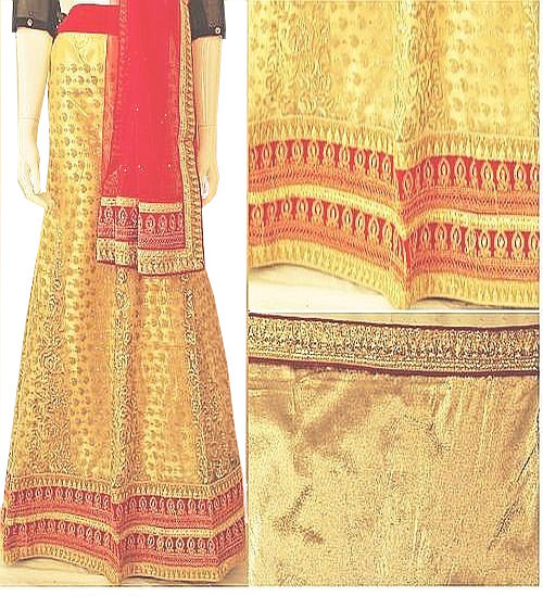 Cream & Red Lehenga Choli Set | Red Dupatta with Gold Blouse Piece | Semi Stitched | Buy Now