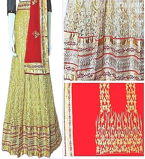 Lehenga Set in Butter Cream with Red Dupatta | Red Blouse | adorned with Stone artwork | Buy Now |Semi Stitched