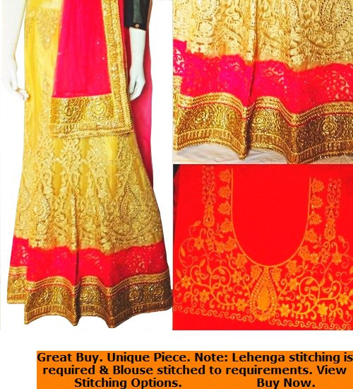 Lehenga Set in Pink, Red Gold & Cream with Pink Dupatta | Red Blouse | Intricate artwork all around | Buy Now | Semi Stitched