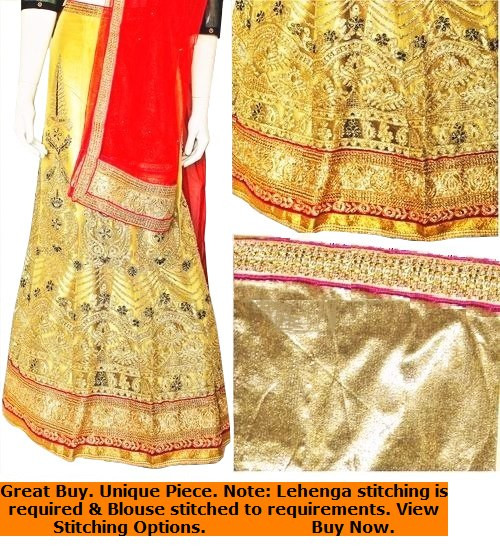 Lehenga Set in Gold, Cream & Red with Red Dupatta | Gold Blouse | Intricate artwork all around | Buy Now | Semi Stitched
