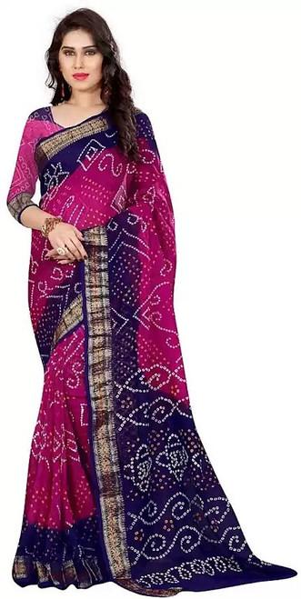 Maroon & Navy Blue designer 2019 Bandhani Silk Saree by Bedazzledbyrani
