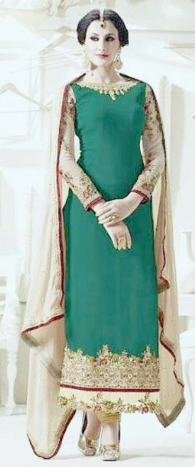 Green &  Gold Salwar Suits Melbourne Australia - BDBR