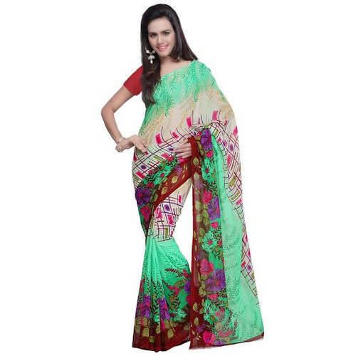 Buy Now | Green Georgette Saree |  Matching Blouse Piece | Free Delivery Australia wide