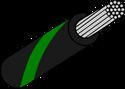 Wire Mil Spec M22759/32 Black with Green Stripe 22AWG Wire