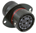 Autosport 12-Way Mixed Bulkhead Connector with Sockets - Red