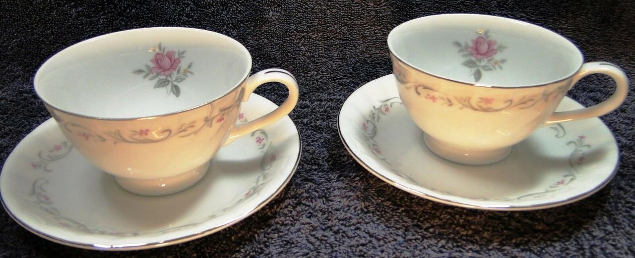 SET OF 4 MIKASA FINE CHINA DRESDEN ROSE CUP /& SAUCER SETS BLUE FLORAL MINT