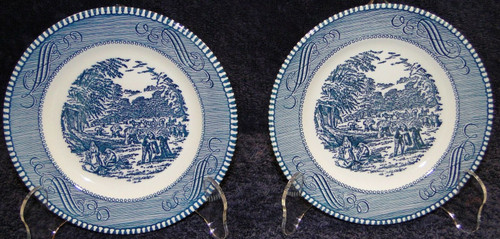 """Royal China Currier Ives Blue White Bread Plate 6 3/8"""" The Harvest 