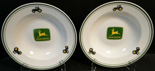 "Gibson John Deere Soup Bowls 9"" Salad Pasta Logo Tractor Set of 2 