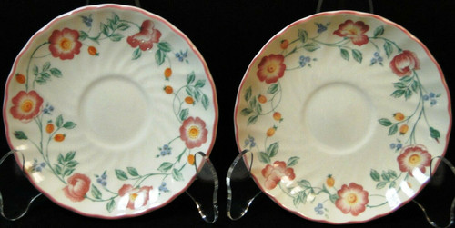 "Churchill Briar Rose Saucers 5 1/2"" England Set of 2 