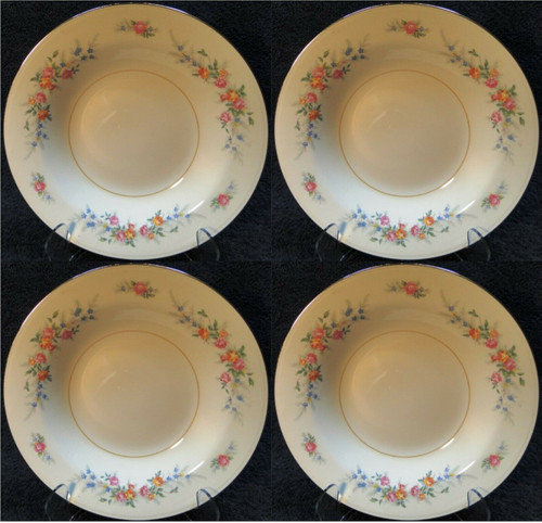 "Homer Laughlin Eggshell Nautilus Ferndale Soup Bowls 9 3/8"" Set of 4 