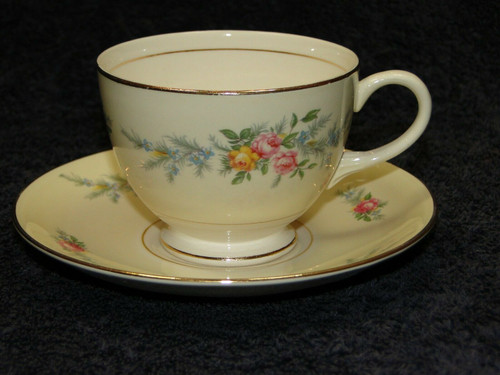 Homer Laughlin Eggshell Nautilus Ferndale Tea Cup Saucer Set | DR Vintage Dinnerware and Replacements