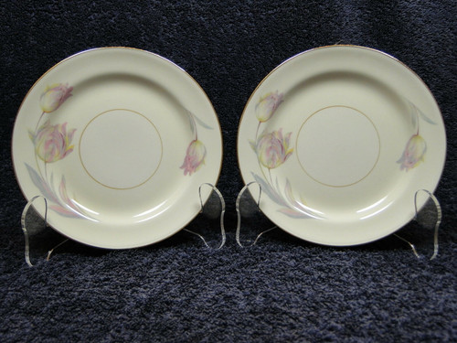 "Homer Laughlin Eggshell Nautilus Tulip Bread Plates 6 1/4"" Set of 2 