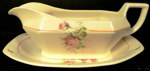 Homer Laughlin Yellowstone Gravy Boat & UnderPlate Pink Moss Rose Red Trim | DR Vintage Dinnerware Replacements