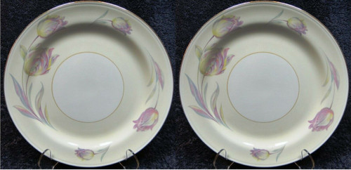 """Homer Laughlin Eggshell Nautilus Tulip Dinner Plates 9 7/8"""" Set of 2 