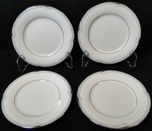"Noritake Sterling Cove Bread Plates 6 3/8"" 7720 Silver Trim Set of 4 