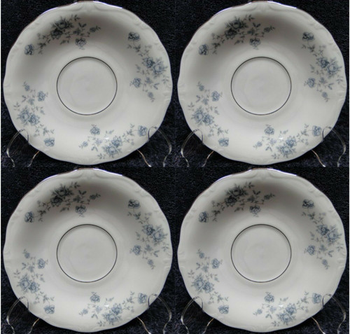 Johann Haviland Bavaria Blue Garland Saucers Silver Center Ring Set 4 | DR Vintage Dinnerware and Replacements