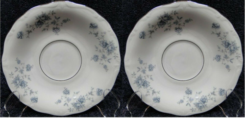 Johann Haviland Bavaria Blue Garland Saucers Silver Center Ring Set 2 | DR Vintage Dinnerware and Replacements