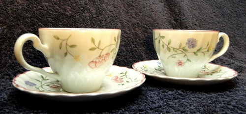 Johnson Brothers Summer Chintz Teacup Saucer Sets Green Stamp England 2 | DR Vintage Dinnerware and Replacements