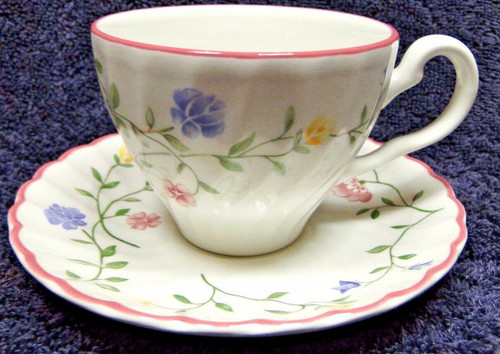Johnson Brothers Summer Chintz Teacup Saucer Set Green Stamp England | DR Vintage Dinnerware and Replacements