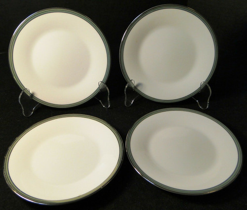 """Noritake Royale Mint Bread Plates 6 1/4"""" 6538 Green Band Set of 4 