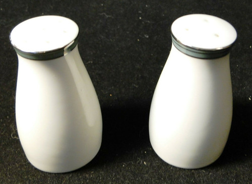 Noritake Royale Mint Salt Pepper Shakers 6538 Green Band | DR Vintage Dinnerware and Replacements