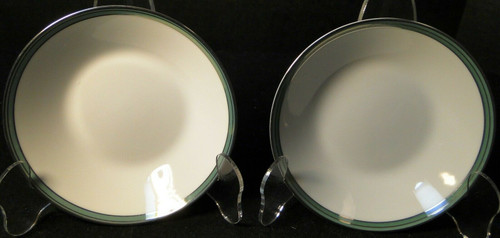 """Noritake Royale Mint Berry Bowls 5 1/2"""" 6538 Green Band Set of 2 