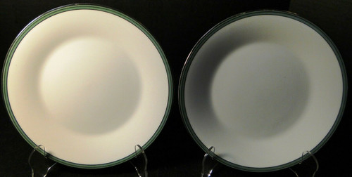 """Noritake Royale Mint Salad Plates 8 1/4"""" 6538 Green Band Set of 2 