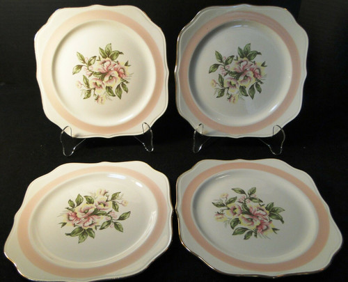 "Homer Laughlin Nautilus N1769 Salad Plates 8"" Pink Band Set of 4 