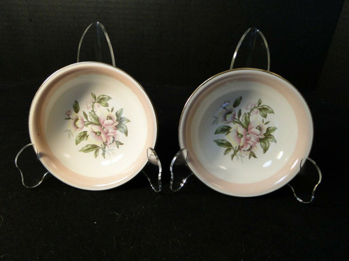 """Homer Laughlin Nautilus N1769 Berry Bowls 5 1/4"""" Pink Band Set of 2 