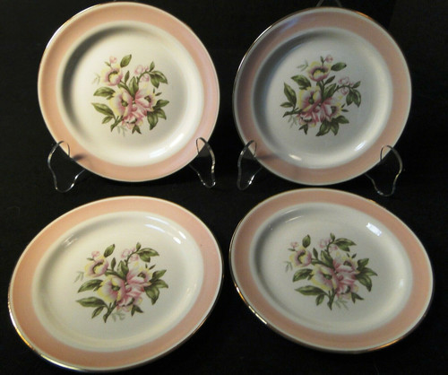 "Homer Laughlin Nautilus N1769 Bread Plates 6/4"" Pink Band Set of 4 